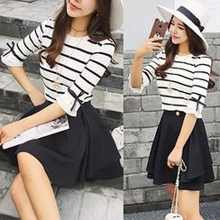 Panda Love - Elbow-Sleeve Striped Knit Top