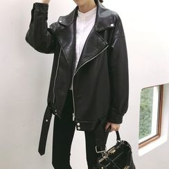 Anlay - Loose-Fit Faux-Leather Biker Jacket