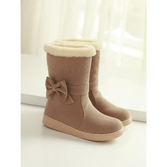 Pangmama - Bow Accent Fleece Lined Short Boots