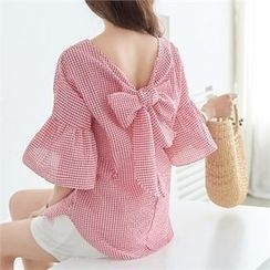 PIPPIN - Elbow-Sleeve Frill-Cuff Bow-Back Gingham Top