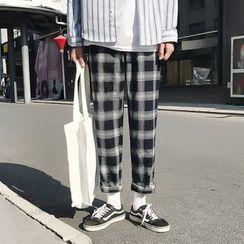 JUN.LEE - Plaid Straight Fit Pants