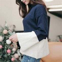 CHICLINE - Mock-Neck Color-Block Knit Top