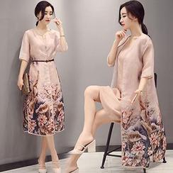 Ashlee - 套装: 中袖印花薄夹克 + 吊带连衣裙