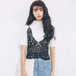 SUYISODA - Set : Lace Knit Camisole Top + Ribbed Short-Sleeve Top