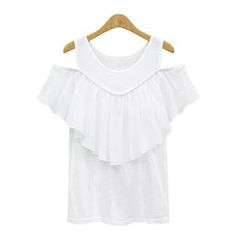 GRACI - Frilled Cutout Shoulder Top