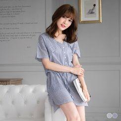 OrangeBear - Check Drawstring Waist Short-Sleeve Dress