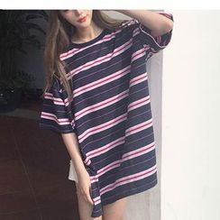 MATO - Short-Sleeve Striped T-Shirt Dress