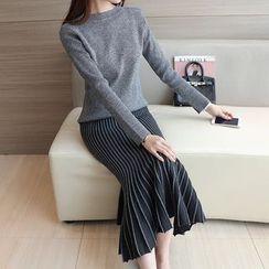 Bubbleknot - Set: Plain Knit Top + Pinstripe Mermaid Skirt