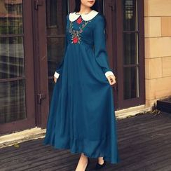 MUSI - Flower Embroidered Collared Long Sleeve Maxi Dress