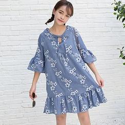 Dute - Floral Print Elbow Sleeve Frill Shift Dress