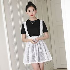 Rollis - Set: Lace Suspender Mini Skirt + Short Sleeve T-Shirt Dress