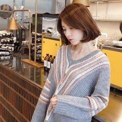 mimi&didi - V-Neck Contrast-Trim Oversized Sweater