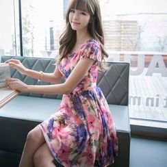 Angel Shine - Floral Print Short-Sleeve Chiffon Dress