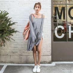 DABAGIRL - Slit-Detail Mélange T-Shirt Dress