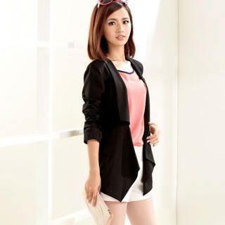 Moonbasa - Shawl-Collar Open-Front Blazer