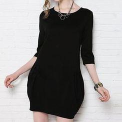 Eloqueen - 3/15-Sleeve Paperbag Hem Dress