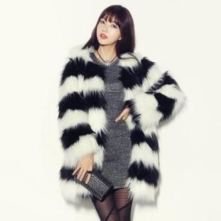 kenzi w - Two-Tone Faux-Fur Coat