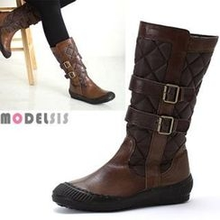 MODELSIS - Genuine Leather Buckled Padded Boots