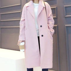 DANI LOVE - Single-Breasted Wool Blend Coat