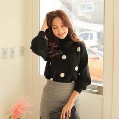 Cherryville - Turtle-Neck Polka-Dot Sweater