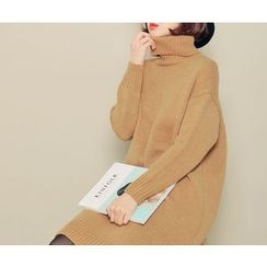 HOTPING - Turtle-Neck Long Knit Top