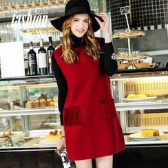 Ozipan - Wool Blend Sleeveless Pocket-Accent Dress