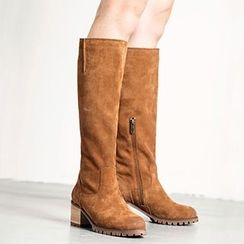 MIAOLV - Stack Heel Faux Suede Tall Boots