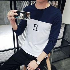 JVI - Lettering Color Panel Long Sleeve T-Shirt