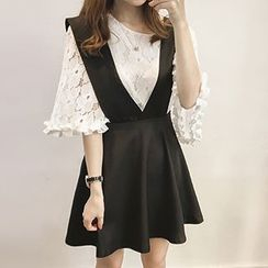 Fashion Street - Set: Bell-Sleeve Lace Top + Jumper Skirt