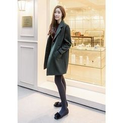 J-ANN - Wool Blend Snap-Button Coat