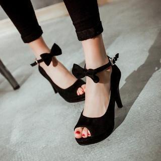 Pangmama - Bow Ankle-Strap Peep-Toe Pumps