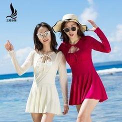 rosiwini - Long-Sleeve Pleated Swim Dress
