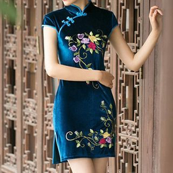 Janelle Qipao - Embroidered Flower Short Cheongsam