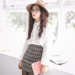 BaseZoo - Set: Long-Sleeve Shirt + Plaid Pencil Skirt