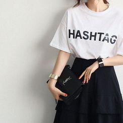 NANING9 - Short-Sleeve Lettering T-Shirt