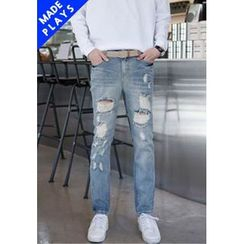 PLAYS - Distressed Straight-Cut Jeans