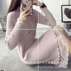 Poppy Love - Lace Hem Mock Neck Knit Dress