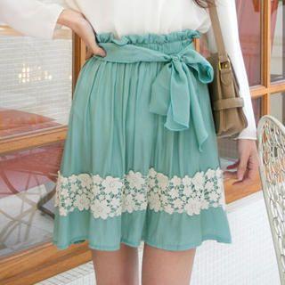 Tokyo Fashion - Lace-Trim A-Line Skirt