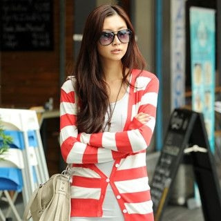 59 Seconds - Striped Knit Cardigan