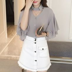 Cobogarden - Elbow-Sleeve Cut Out Blouse