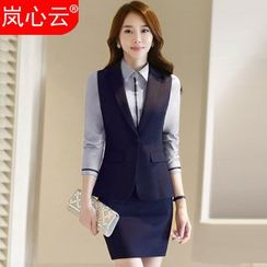 Skyheart - Plain Vest / Long-Sleeve Dress Shirt / Set: Vest + Dress Pants / Skirt