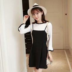 Zella - Set: Tipped Long Sleeve T-Shirt + A-Line Spaghetti Strap Mini Dress