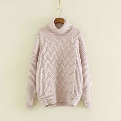 Mushi - Turtleneck Cable Knit Sweater
