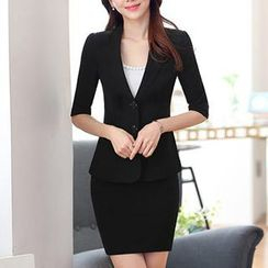 Eferu - Set: Plain Blazer + Pencil Skirt