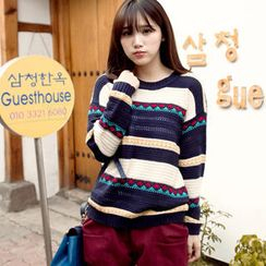 Tokyo Fashion - Drop-Shoulder Patterned Sweater