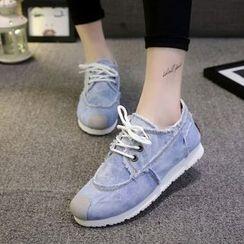 Yoflap - Hidden Wedge Denim Sneakers