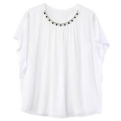Sentubila - Embellished Short-Sleeve Chiffon Top