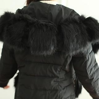 WHITE FOX - Faux-Fur Trim Padded Coat with Belt