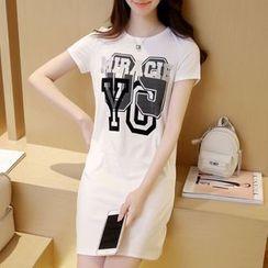 Cobogarden - Letter Short-Sleeve T-Shirt Dress