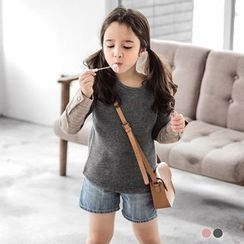 OrangeBear - Kids Brushed Paneled Sleeve Top